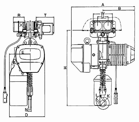 Talha Elétrica de Corrente – Modelo com Trolley Elétrico