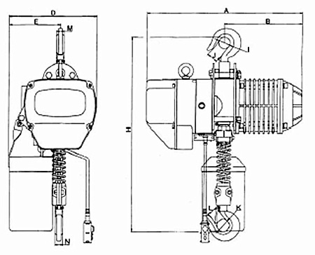 Talha Elétrica de Corrente – Modelo no Gancho